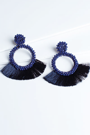 Feeling the Fringe Earrings, Navy