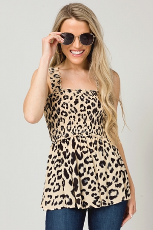 Taupe Leopard Smock Tank