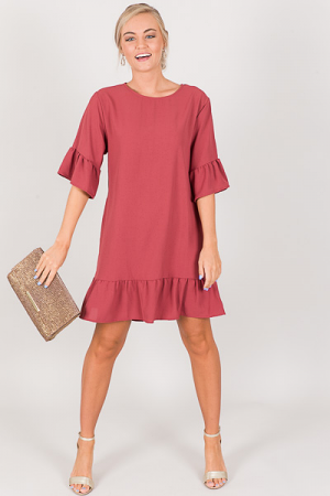 Audrey Ruffled Dress, Marsala