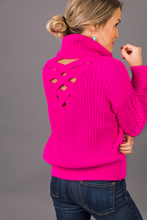 Criss Cross Sweater, Flamingo
