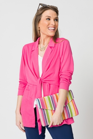 Stretchy Tie Front Topper, Pink
