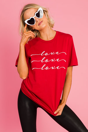 Love Love Love Tee, Red