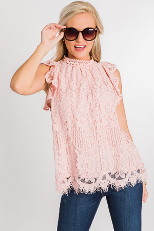 Georgie Lace Top, Blush
