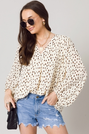 Duo Specks Woven Tunic, Cream