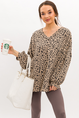 Crinkle Leopard Tunic, Light Tan