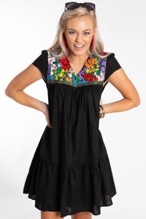 Kristen Embroidered Dress, Black