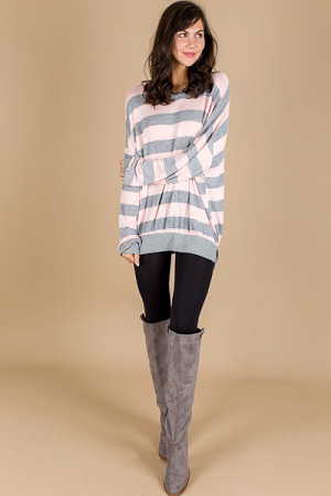 Oversized Stripe Sweatshirt, Mauve