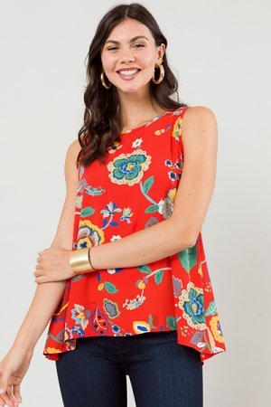 The Essential Tank Top, Red Floral