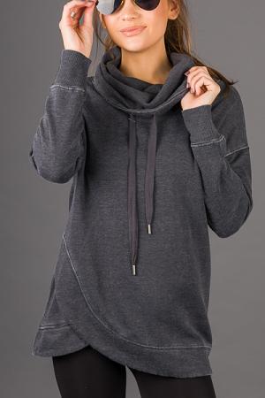 Wrapped Tunic Sweatshirt, Black