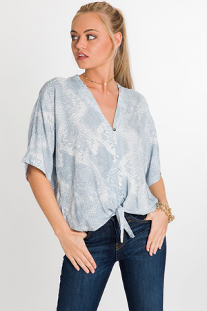 Blue Snake Button Down