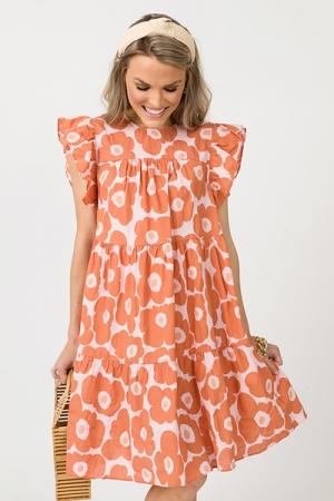 Flower Doodles Dress, Pink/Orange