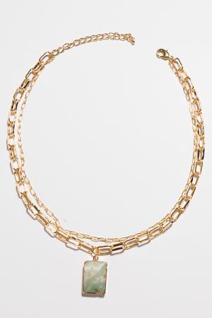 Lux Lock Necklace, Jade