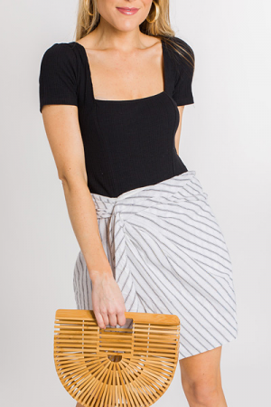 Pinstripe Twist Skirt
