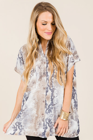 Button Front Snake Tunic