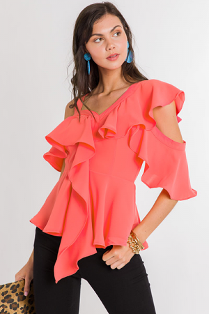 Ruffled Up Top, Coral