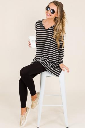 Jersey Stripe Dress, Black