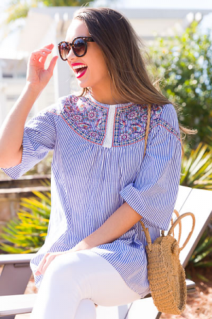 Pinstripe Embroidery Tunic