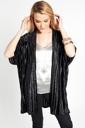 Shimmer Stripes Kimono, Black