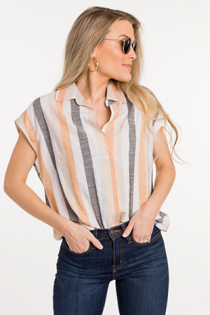 Annie Collared Stripe Top