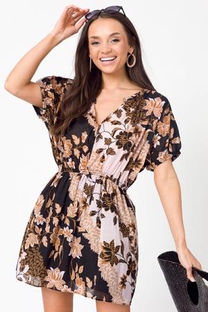 Flipped Floral Dress, Blush/Black