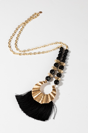 Beaded Tassel Necklace, Black
