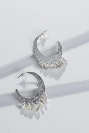 Moon Drop Earring, Silver