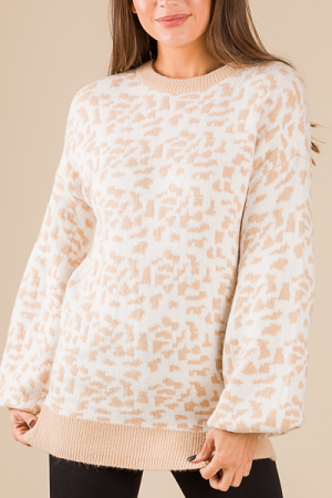 Digital Leopard Sweater, Cream