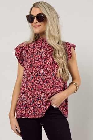 Woven Floral Blouse, Burgundy