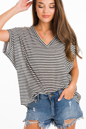 Oversized Stripe Tee, Black