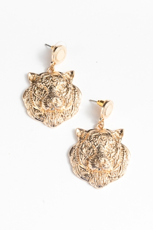 Tiger Post Dangle Earrings, Gold