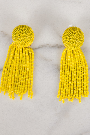 Disc and Fringe Earring, Yellow