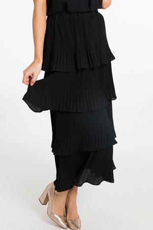 Pleated Tiers Maxi Skirt, Black