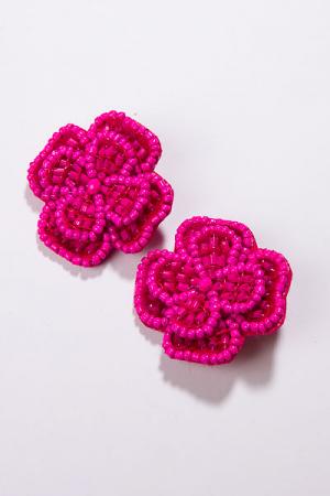 Beaded Pansie Earring, Pink
