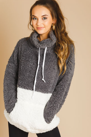 2 Tone Cowl Sherpa Pullover, Charcoal