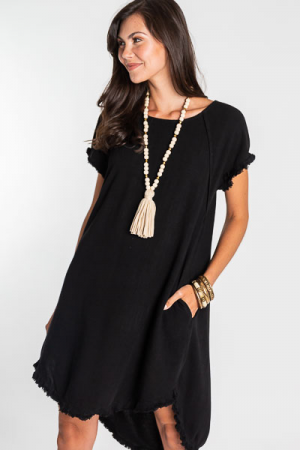 Lucy Linen Dress, Black
