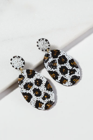 Beaded White Leopard Earrings