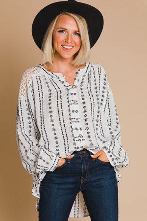 Printed Button Down, Ivory
