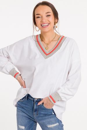 Varsity Oversize Top, White