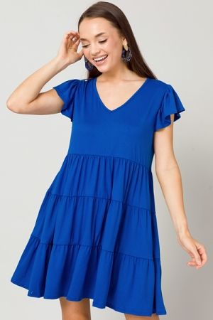 Solid Knit Tiered Dress, Royal