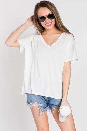 Short Sleeve V-Neck Piko, Off White