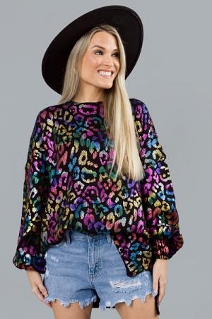 Rainbow Cheetah Sweater, Black