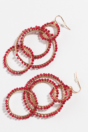 Linked Beads Earring, Wine