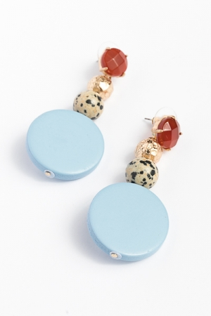 Stone and Wood Earrings, Light Blue