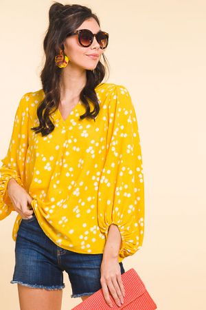 Shower of Spots Blouse, Yellow