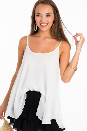2 Layer Solid Cami, White
