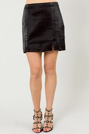 Crocodile Leather Skirt, Black