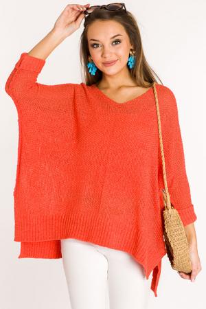 Folded Cuffs Sweater, Tomato
