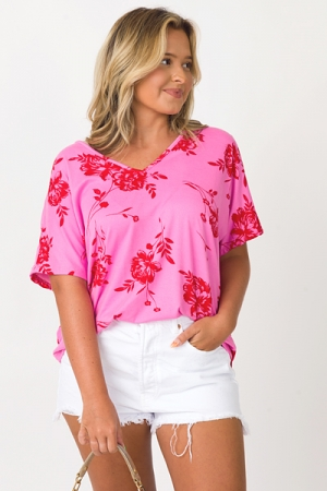 Soft Floral Tee, Pink
