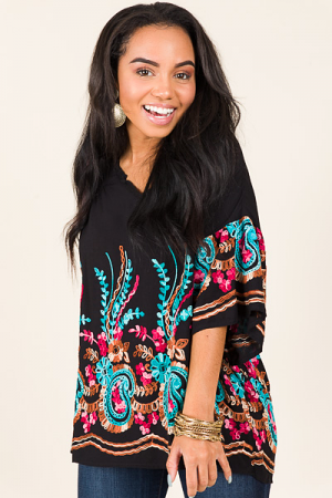 Embroidered Paisley Top, Black