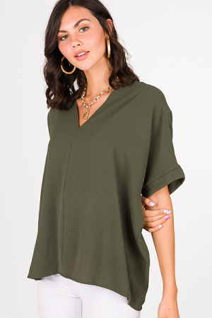 Be Mine Boxy Blouse, Olive